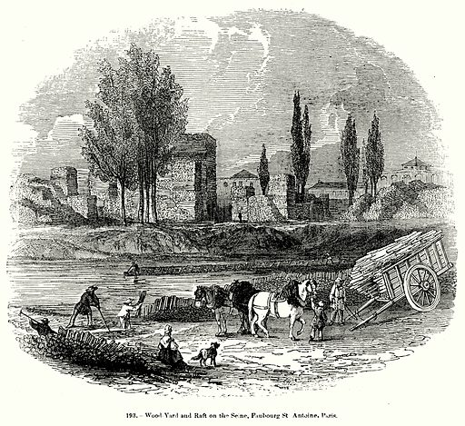 Wood-Yard and Raft on the Seine, Faubourg St Antoine, Paris. Illustration for Knight's Pictorial Gallery of Arts (London Printing and Publishing, c 1860).