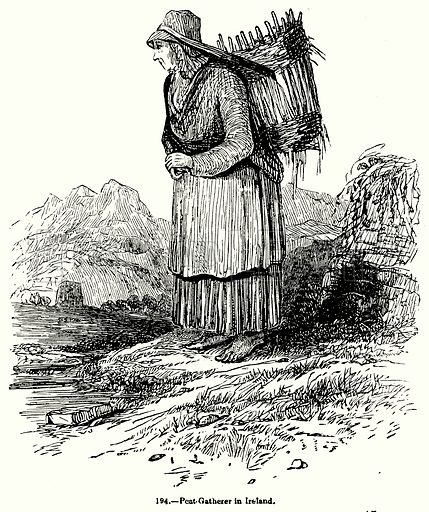 Peat-Gatherer in Ireland. Illustration for Knight's Pictorial Gallery of Arts (London Printing and Publishing, c 1860).