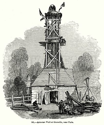 Artesian Well at Grenelle, near Paris. Illustration for Knight's Pictorial Gallery of Arts (London Printing and Publishing, c 1860).
