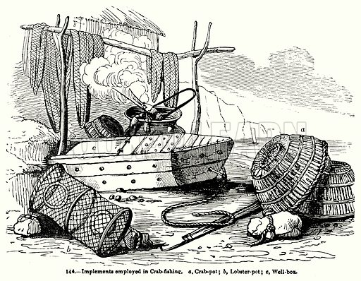 Implements Employed in Crab-Fishing. a, Crab-Pot; b, Lobster-Pot; c, Well-Box. Illustration for Knight's Pictorial Gallery of Arts (London Printing and Publishing, c 1860).