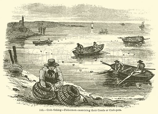 Crab-Fishing--Fishermen examining their Creels or Crab-Pots. Illustration for Knight's Pictorial Gallery of Arts (London Printing and Publishing, c 1860).