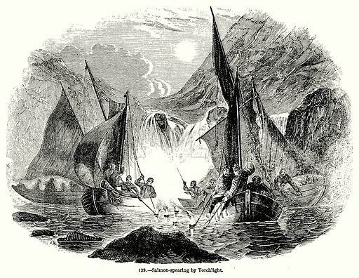 Salmon-Spearing by Torchlight. Illustration for Knight's Pictorial Gallery of Arts (London Printing and Publishing, c 1860).