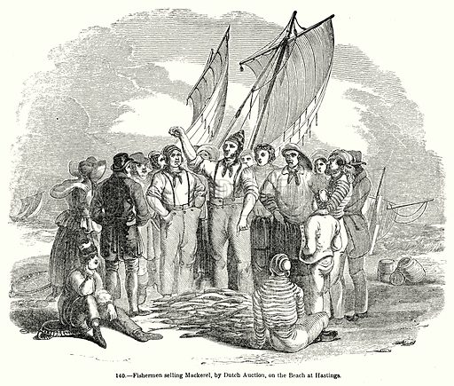 Fishermen Selling Mackerel, by Dutch Auction, on the Beach at Hastings. Illustration for Knight's Pictorial Gallery of Arts (London Printing and Publishing, c 1860).