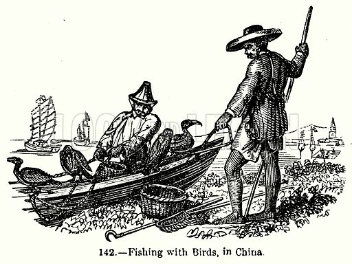 Fishing with Birds, in China. Illustration for Knight's Pictorial Gallery of Arts (London Printing and Publishing, c 1860).