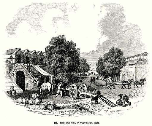 Halle aux Vins, or Wine-Market, Paris. Illustration for Knight's Pictorial Gallery of Arts (London Printing and Publishing, c 1860).