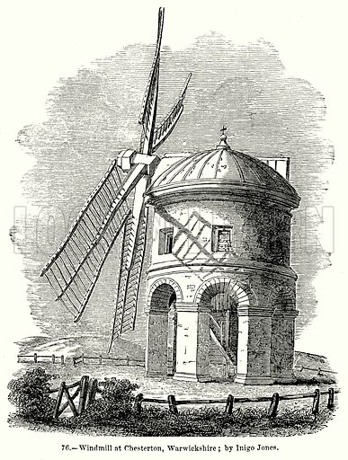 Windmill at Chesterton, Warwickshire; by Inigo Jones. Illustration for Knight's Pictorial Gallery of Arts (London Printing and Publishing, c 1860).