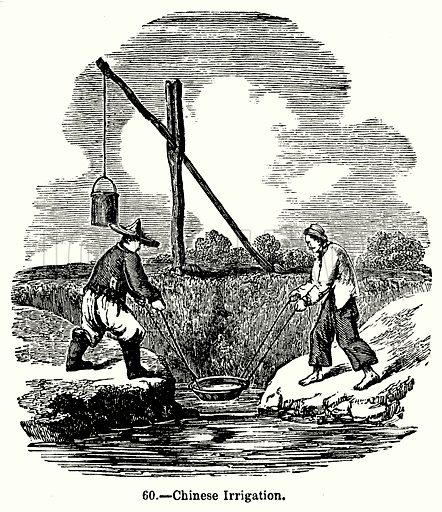 Chinese Irrigation. Illustration for Knight's Pictorial Gallery of Arts (London Printing and Publishing, c 1860).