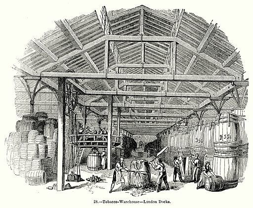 Tobacco-Warehouse--London Docks. Illustration for Knight's Pictorial Gallery of Arts (London Printing and Publishing, c 1860).