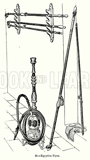 Egyptian-Pipes. Illustration for Knight's Pictorial Gallery of Arts (London Printing and Publishing, c 1860).