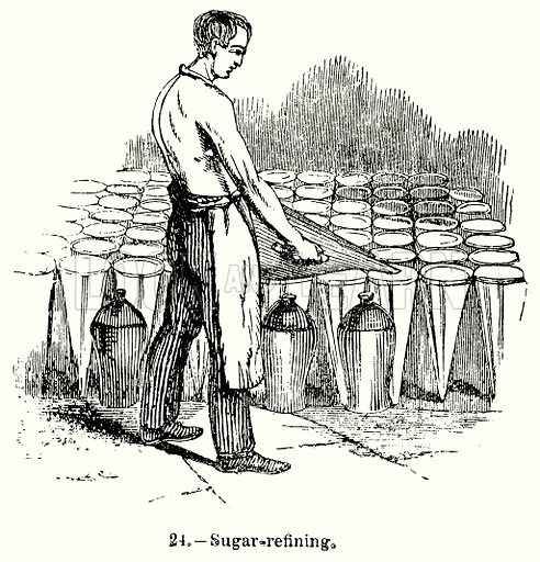 Sugar-Refining. Illustration for Knight's Pictorial Gallery of Arts (London Printing and Publishing, c 1860).