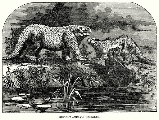 Extinct Animals Restored. Illustration for Knight's Pictorial Gallery of Arts (London Printing and Publishing, c 1860).