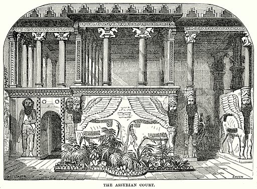 The Assyrian Court. Illustration for Knight's Pictorial Gallery of Arts (London Printing and Publishing, c 1860).