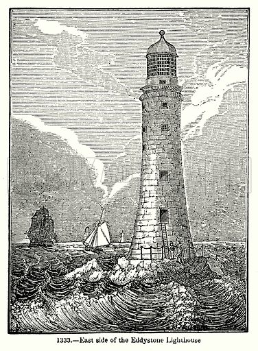 East Side of the Eddystone Lighthouse. Illustration for Knight's Pictorial Gallery of Arts (London Printing and Publishing, c 1860).