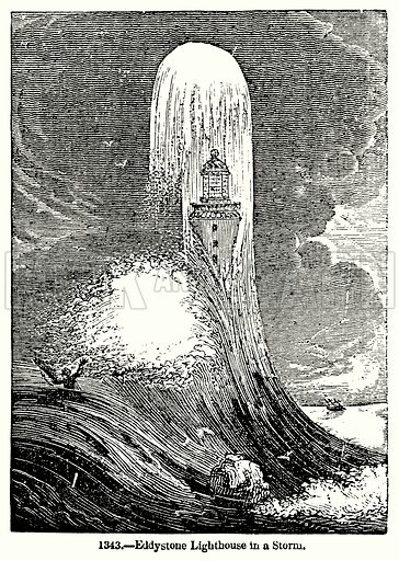 Eddystone Lighthouse in a Storm. Illustration for Knight's Pictorial Gallery of Arts (London Printing and Publishing, c 1860).