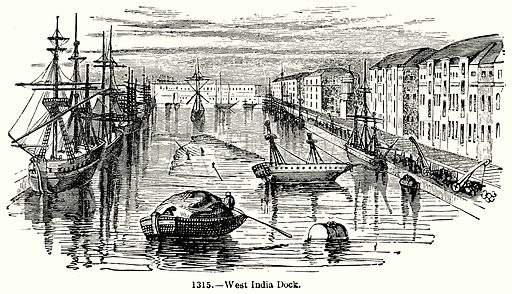 West India Dock. Illustration for Knight's Pictorial Gallery of Arts (London Printing and Publishing, c 1860).