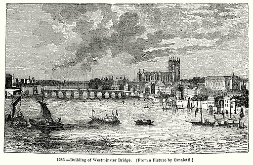 Building of Westminster Bridge. Illustration for Knight's Pictorial Gallery of Arts (London Printing and Publishing, c 1860).