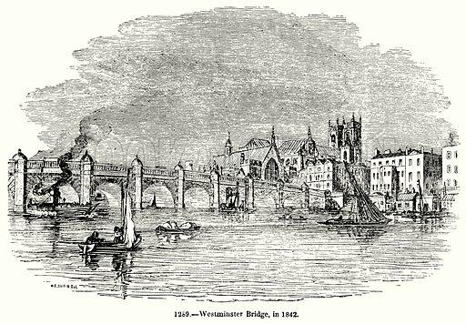 Westminster Bridge, in 1842. Illustration for Knight