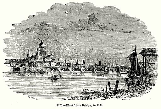 Blackfriars Bridge, in 1839. Illustration for Knight's Pictorial Gallery of Arts (London Printing and Publishing, c 1860).