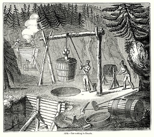 Tar-Marking in Russia. Illustration for Knight's Pictorial Gallery of Arts (London Printing and Publishing, c 1860).