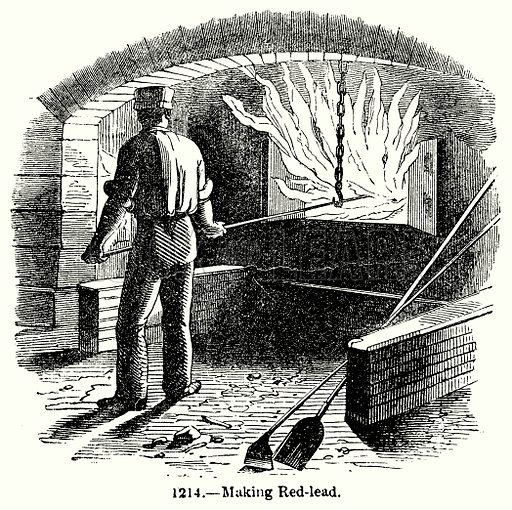 Making Red-Lead. Illustration for Knight's Pictorial Gallery of Arts (London Printing and Publishing, c 1860).