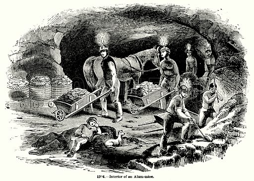 Interior of an Alum-Mine. Illustration for Knight's Pictorial Gallery of Arts (London Printing and Publishing, c 1860).