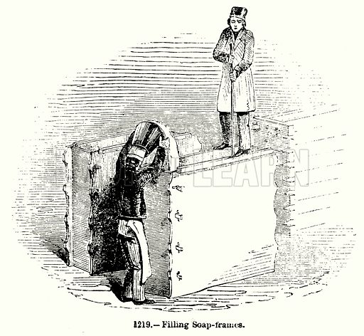 Filling Soap-Frames. Illustration for Knight's Pictorial Gallery of Arts (London Printing and Publishing, c 1860).