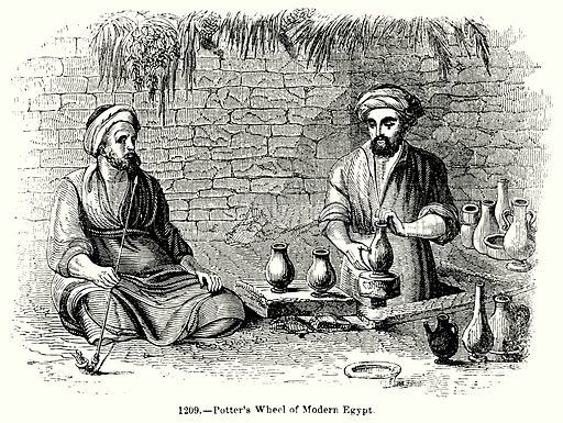 Potter's Wheel of Modern Egypt. Illustration for Knight's Pictorial Gallery of Arts (London Printing and Publishing, c 1860).