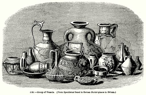 Group of Vessels. Illustration for Knight's Pictorial Gallery of Arts (London Printing and Publishing, c 1860).