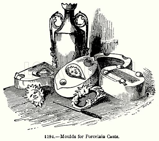 Moulds for Porcelain Casts. Illustration for Knight's Pictorial Gallery of Arts (London Printing and Publishing, c 1860).