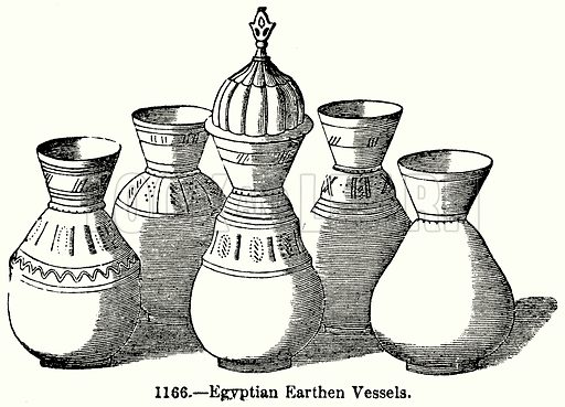 Egyptian Earthen Vessels. Illustration for Knight's Pictorial Gallery of Arts (London Printing and Publishing, c 1860).