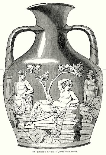 Portland or Barberini Vase, in the British Museum. Illustration for Knight's Pictorial Gallery of Arts (London Printing and Publishing, c 1860).