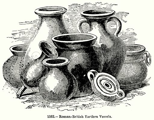 Roman-British Earthen Vessels. Illustration for Knight's Pictorial Gallery of Arts (London Printing and Publishing, c 1860).