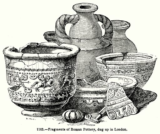 Fragments of Roman Pottery, dug up in London. Illustration for Knight's Pictorial Gallery of Arts (London Printing and Publishing, c 1860).
