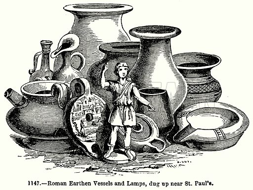 Roman Earthen and Lamps, dug up near St Paul's. Illustration for Knight's Pictorial Gallery of Arts (London Printing and Publishing, c 1860).