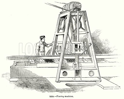Planing Machine. Illustration for Knight's Pictorial Gallery of Arts (London Printing and Publishing, c 1860).