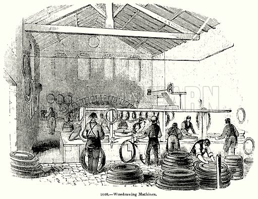 Wiredrawing Machines. Illustration for Knight's Pictorial Gallery of Arts (London Printing and Publishing, c 1860).