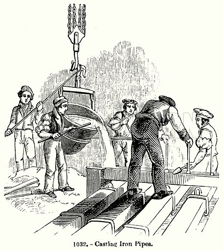 Casting Iron Pipes. Illustration for Knight's Pictorial Gallery of Arts (London Printing and Publishing, c 1860).