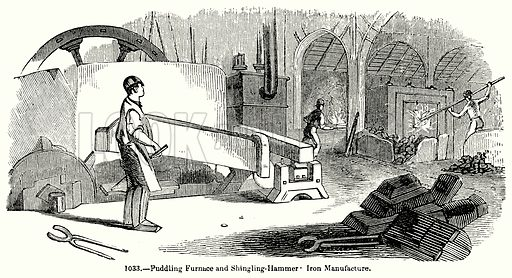 Puddling Furnace and Shing-Hammer Iron Manufacture. Illustration for Knight's Pictorial Gallery of Arts (London Printing and Publishing, c 1860).