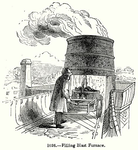 Filling Blast Furnace. Illustration for Knight's Pictorial Gallery of Arts (London Printing and Publishing, c 1860).