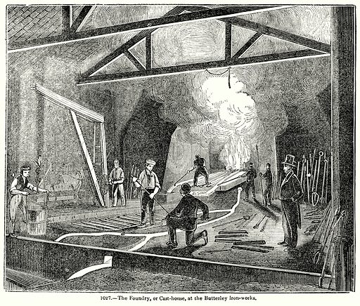 The Foundry, or Cast-House, at the Butterley Iron-Works. Illustration for Knight's Pictorial Gallery of Arts (London Printing and Publishing, c 1860).