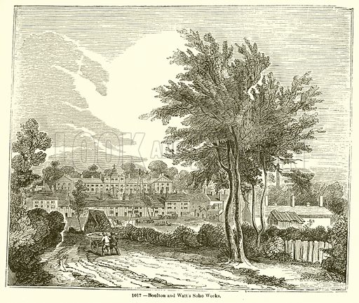 Boulton and Watt's Soho Works. Illustration for Knight's Pictorial Gallery of Arts (London Printing and Publishing, c 1860).