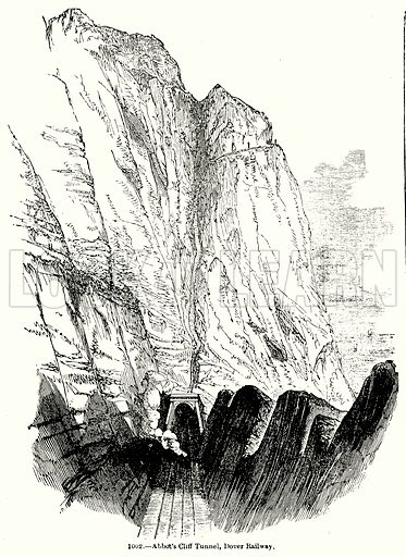 Abbot's Cliff Tunnel, Dover Railway. Illustration for Knight's Pictorial Gallery of Arts (London Printing and Publishing, c 1860).