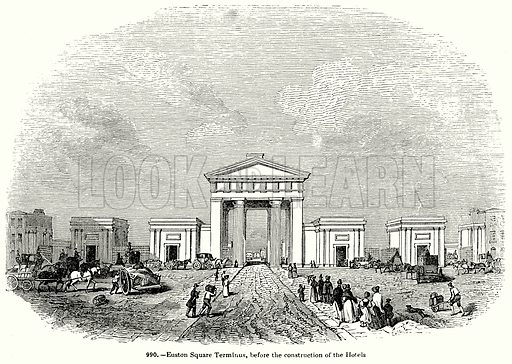 Euston Square Terminus, before the Construction of the Hotels. Illustration for Knight
