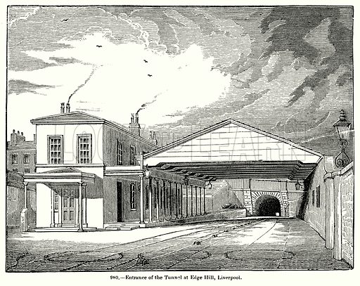 Entrance of the Tunnel at Edge Hill, Liverpool. Illustration for Knight's Pictorial Gallery of Arts (London Printing and Publishing, c 1860).