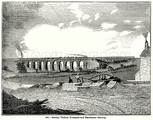 Sankey Viaduct, Liverpool and Manchester Railway. Illustration for Knight's Pictorial Gallery of Arts (London Printing and Publishing, c 1860).