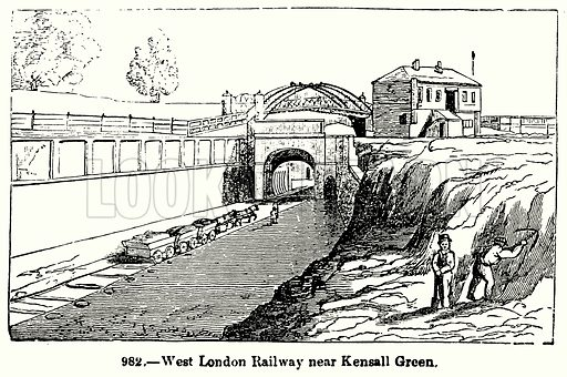 West London Railway near Kensall Green. Illustration for Knight's Pictorial Gallery of Arts (London Printing and Publishing, c 1860).