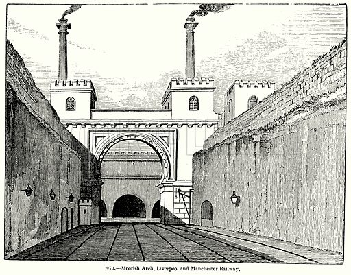 Moorish Arch, Liverpool and Manchester Railway. Illustration for Knight's Pictorial Gallery of Arts (London Printing and Publishing, c 1860).