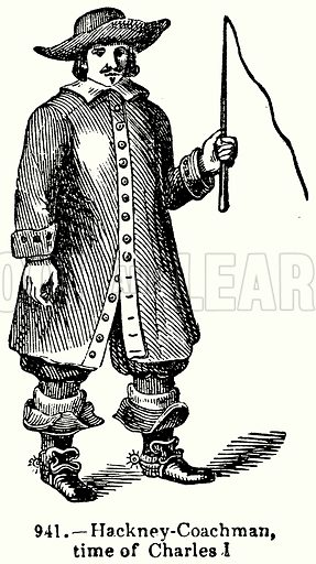 Hackney-Coachman, Time of Charles I. Illustration for Knight's Pictorial Gallery of Arts (London Printing and Publishing, c 1860).