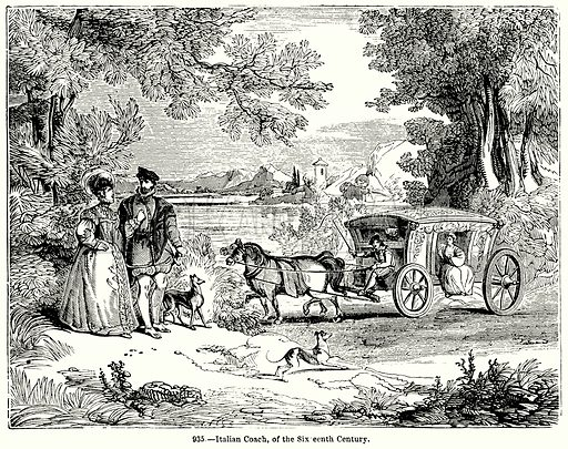 Italian Coach, of the Sixteenth Century. Illustration for Knight's Pictorial Gallery of Arts (London Printing and Publishing, c 1860).