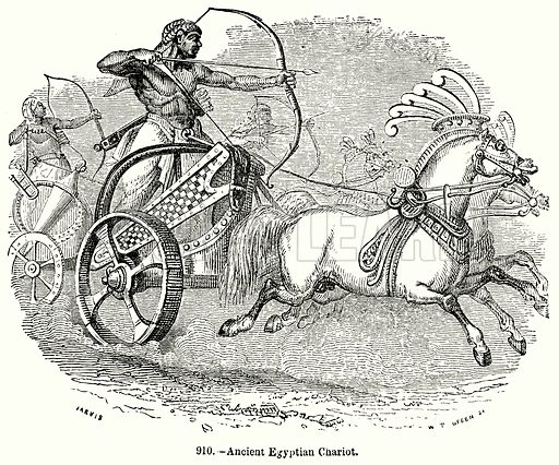 Ancient Egyptian Chariot. Illustration for Knight's Pictorial Gallery of Arts (London Printing and Publishing, c 1860).